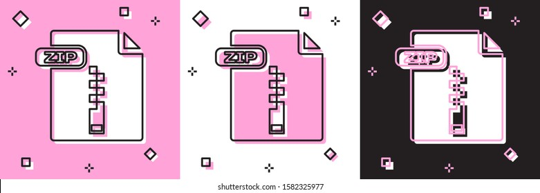 Set ZIP file document. Download zip button icon isolated on pink and white, black background. ZIP file symbol.  Vector Illustration