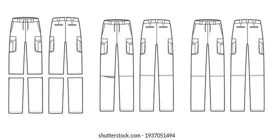 Set of Zip-off convertible pants technical fashion illustration with low waist, box pleated cargo jetted pockets, drawstring. Flat template front, back white color style. Women, men, unisex CAD mockup
