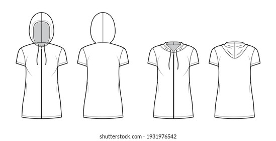 Set of Zip-up Hoody dresses technical fashion illustration with short sleeves, mini length, oversized body, Pencil fullness. Flat apparel template front, back, white color. Women men unisex CAD mockup