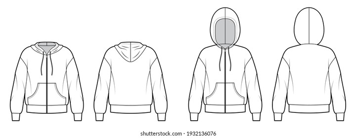 Set of Zip-up Hoody sweatshirt technical fashion illustration with long sleeves, oversized body, kangaroo pouch, banded. Flat apparel template front, back, white color. Women, men, unisex CAD mockup
