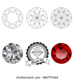 Set of zircon cut jewel views isolated on white background - top view, bottom view, realistic ruby, realistic diamond and badge. Can be used as part of logo, icon, web decor or other design.