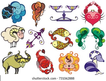 Set of zodiac icons (astrology, astronomy). Horoscope signs as cartoon characters. Vector illustration.