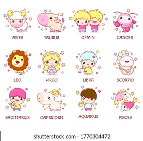 Set of zodiac sign characters in kawaii style. Cute chibi baby and animal. Aquarius, pisces, aries, leo, gemini, taurus, scorpio, sagittarius, libra, virgo, capricorn, cancer. Vector illustration EPS8