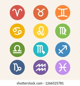 Set of Zodiac Sign and Constellation Flat Isolated Vector Illustration with Circle Shape