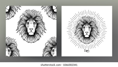 Leo,lion. Set of Zodiac sign illustration on the sacred geometry symbol pattern and  seamless pattern with this sign. Black-and-white graphics. Stock vectorillustration.
