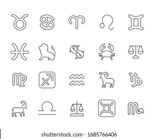 Set of zodiac sign Related Vector Line Icons. Includes such Icons as horoscope, astrology, constellations and more.