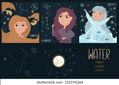 Set of Zodiac signs character. Element of water: cancer, scorpio, pisces. Editable vector illustration