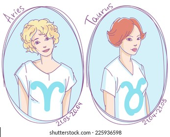 Set of zodiac signs. Girls in t-shirts with different hairstyles colored line art sketch - aries, taurus