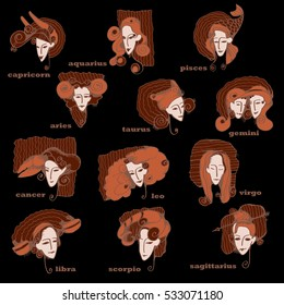 Set of Zodiac signs like cute girl's portraits. Vector illustration.Woman With Twelve Zodiac Signs Icons Set, Astrological, Constellation, Beauty, Female, Fortunetelling, Lifestyle