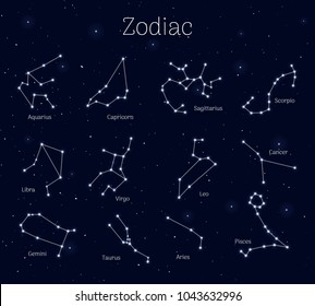 Set zodiac signs, night sky background, realistic. Collection of astrological symbols. Vector illustration of ancient sacral theme