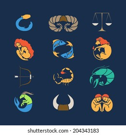 Set of zodiac symbols on blue background. Vector illustration