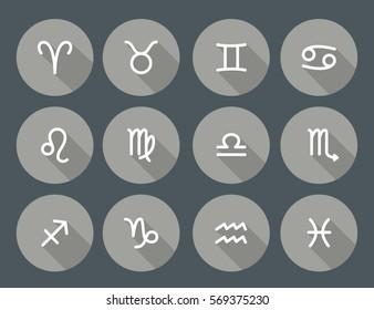 Set of zodiac symbols, round gray icons with shadow on the dark gray background