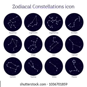 Set zodiacal constellations, round, night sky background, icon realistic. Collection of horoscope symbols. Vector illustration of ancient magic images