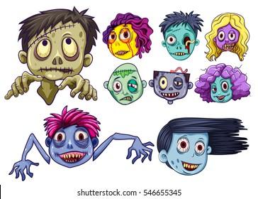 Set of zombie heads illustration