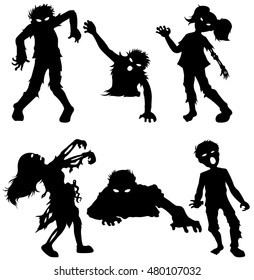 Set of zombie male and female of black silhouettes. Vector illustration