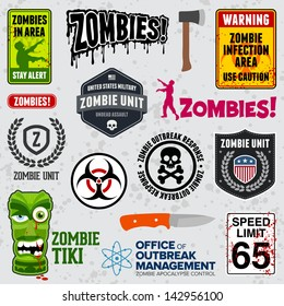 Set of zombie signs, graphics, and related logo symbols