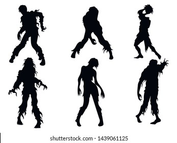 Set of zombie silhouettes. A collection of zombies for halloween. Black white illustration of the walking dead for children. Tattoo.