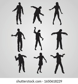 Set of zombie silhouettes. A collection of zombies for halloween.