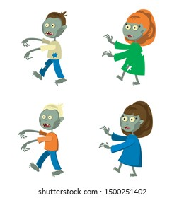 Set of a zombies isolated on white background. Zombie men and women in cartoon style. Vector illustration