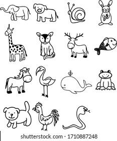 A Set of zoo animal, creature, mammals, insects, fish and wildlife cartoon drawing and graphic image useful for doodle or illustration and poster