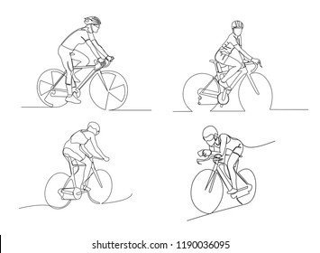 set-continuous line drawing of sport Cycling triathlon Vector illustration health concept