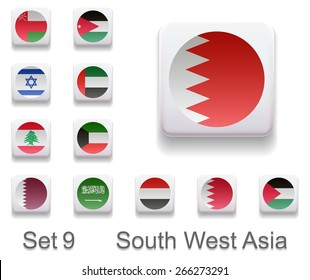 Seth 9. South West Asia. Flags in the form of computer button. All elements and textures are individual objects. Each image has a name. infograph  Illustration. Vector. Icon.