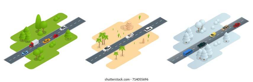 Seth consisting of three isometric pictures Road in summer, road in the desert and road in winter. used for workflow layout, game, diagram, number options, web design and infographics