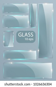 Seth Empty transparent glass plates. Vector template, banner layout with copy space. Photo realistic texture with backlight and glow on transparent. See plastic, illustrations. EPS 10
