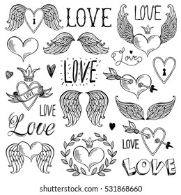 Seth illustrations and decorative elements for Valentine's Day. Freehand drawing