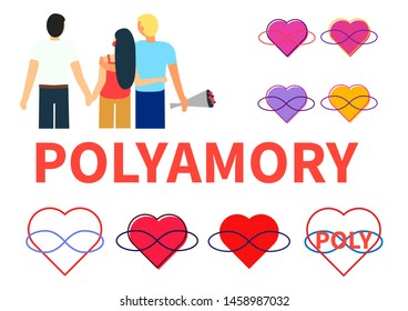 Seth polyamory. Two guys and a girl hold hands and hug. Several symbols of polyamoria - hearts and infinity sign in different circuits. White background