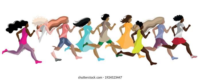 Seth running women of different skin colors. Vector illustration.