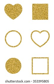 Seth of simple geometric glitter shapes. Circle, square and heart. Logo. Trendy elements for your design. Vector illustration.