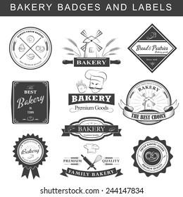 Setof vintage retro bakery logo badges and labels. Vector illustration.
