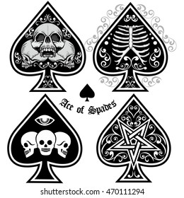 sets, ace of spades with skull and spades