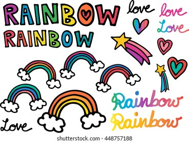 Sets of beautiful and cute rainbow with shooting stars and hearts. Shooting stars, hearts and rainbows are great with decorating cards, posters or any graphics needed.