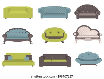 Sets of colorful sofa, vector illustration, furniture for an interior, living room.
