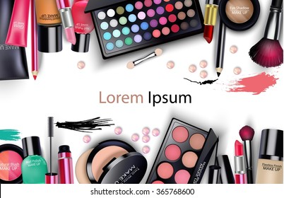 Sets of cosmetics on white background.vector