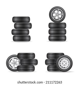 The sets of four wheels on white background
