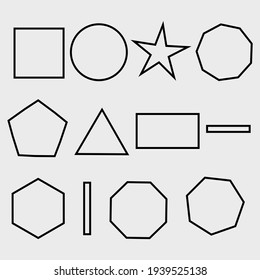 Sets of geometry shapes icons.