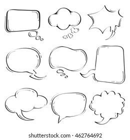 Sets of Hand drawn speech bubble doodle on white background.