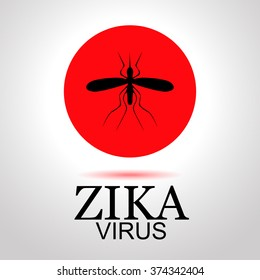 "sets mosquito image as icons. One icon with the image of a mosquito is red, indicating the Zika virus infection. vektor illustration with text ""Zika virus"""