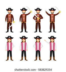 Sets of Pirates Character Design Vector.