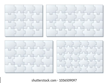 Sets of puzzle pieces vector illustration. 4 x 4, 4 x 5, 4 x 6, 5 x 6 jigsaw pieces