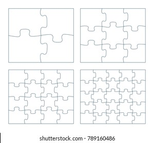 Sets Of Puzzle Pieces Vector Illustration 2 X 3 4