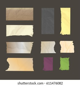 Sets realistic vector illustration of adhesive tape. Colored adhesive tape.