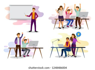 Sets of scenes at office. teamwork in process of creating something, discussing idea with team, celebration of success work, working with laptop in business meeting. illustration in flat cartoon style