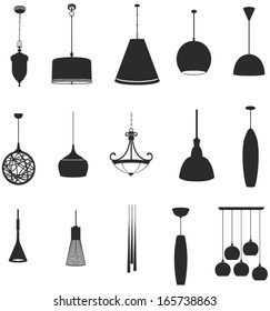 Sets of silhouette ceiling lamps light for home appliance indoor furniture icon collection set 2, create by vector