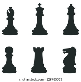 Sets of silhouette Chess icon in isolated background with king, queen, bishop, rook and pawn, create by vector