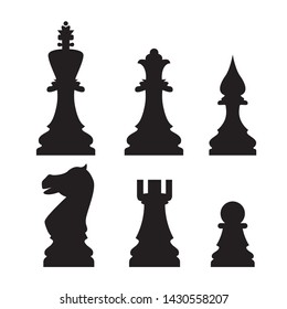 Sets of silhouette Chess icon in isolated background