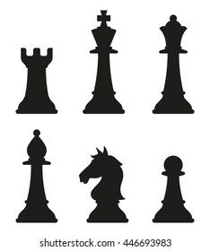 Sets of silhouette Chess icon in isolated background with king, queen, bishop, rook and pawn, create by vector.